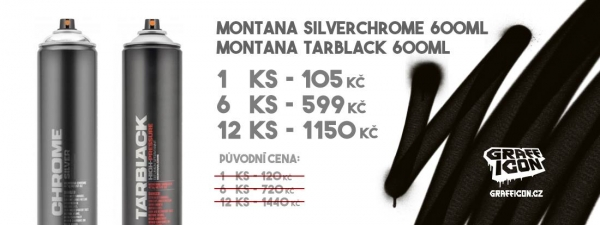 MONTANA Silverchrome 600ml a Tarblack 600ml AKCE!!!