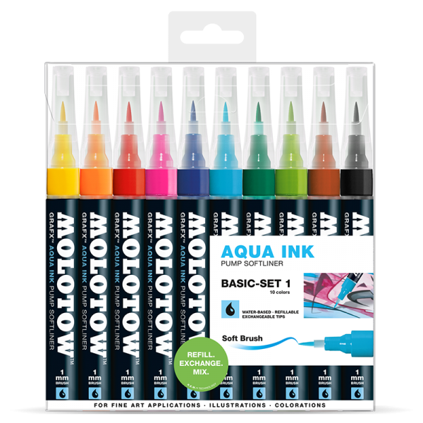 Molotow Aqua pump softliner - Basic set 1 (10ks)