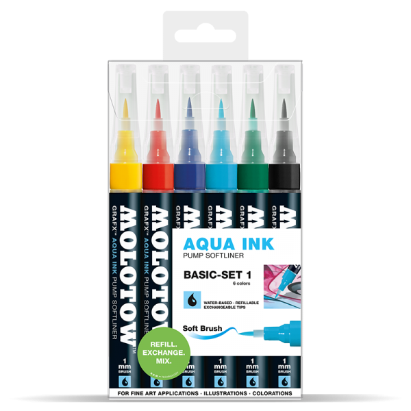 Molotow Aqua pump softliner - Basic set 1 (6ks)